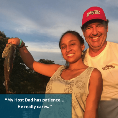 Au Pair Carmen went fishing with her Host Parents on a family trip