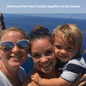 Danel and her Host Family visited the beach together in Spain