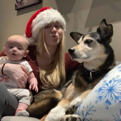 Lua sends pictures of the baby and the dog to Mike and Susie when they're at work.