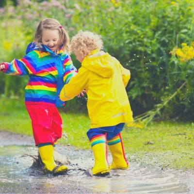 Splashing in puddles is one of the best rainy day activities ever